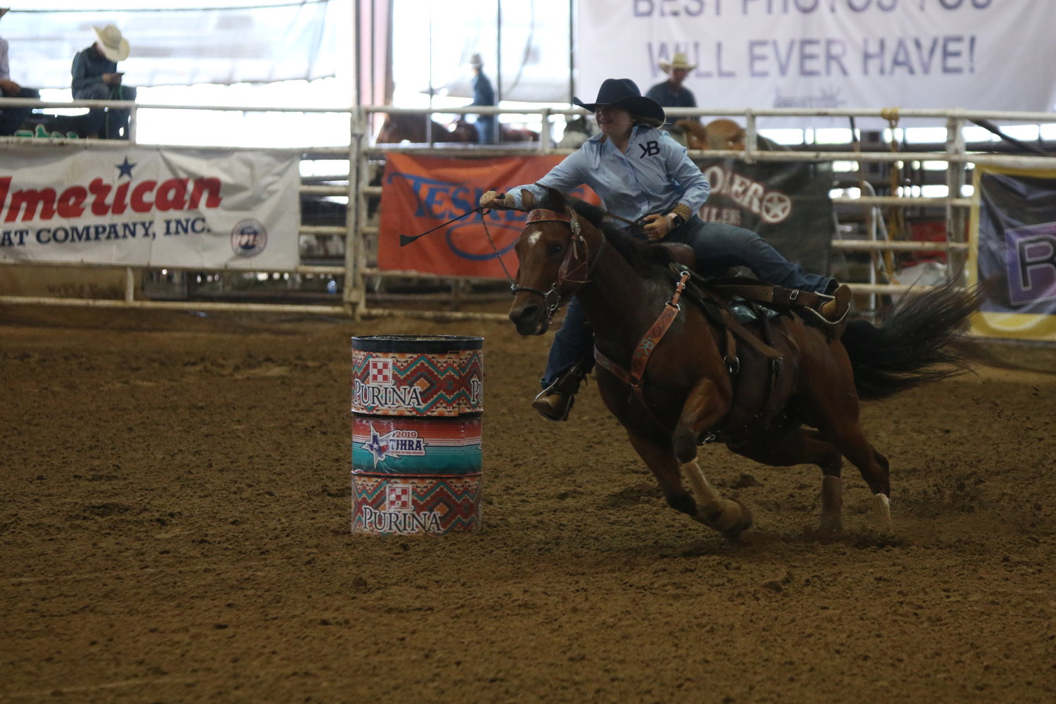 Kori Bigbee of Waelder competed in the barrel racing at last week's TJHRA state finals.