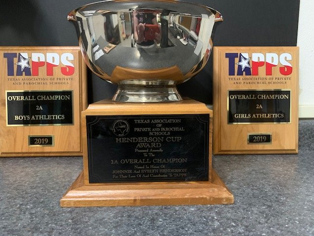Shiner St. Paul was awarded the Henderson Cup as well as overall champion in TAPPS 2A girls athletics and TAPPS 2A boys athletics.