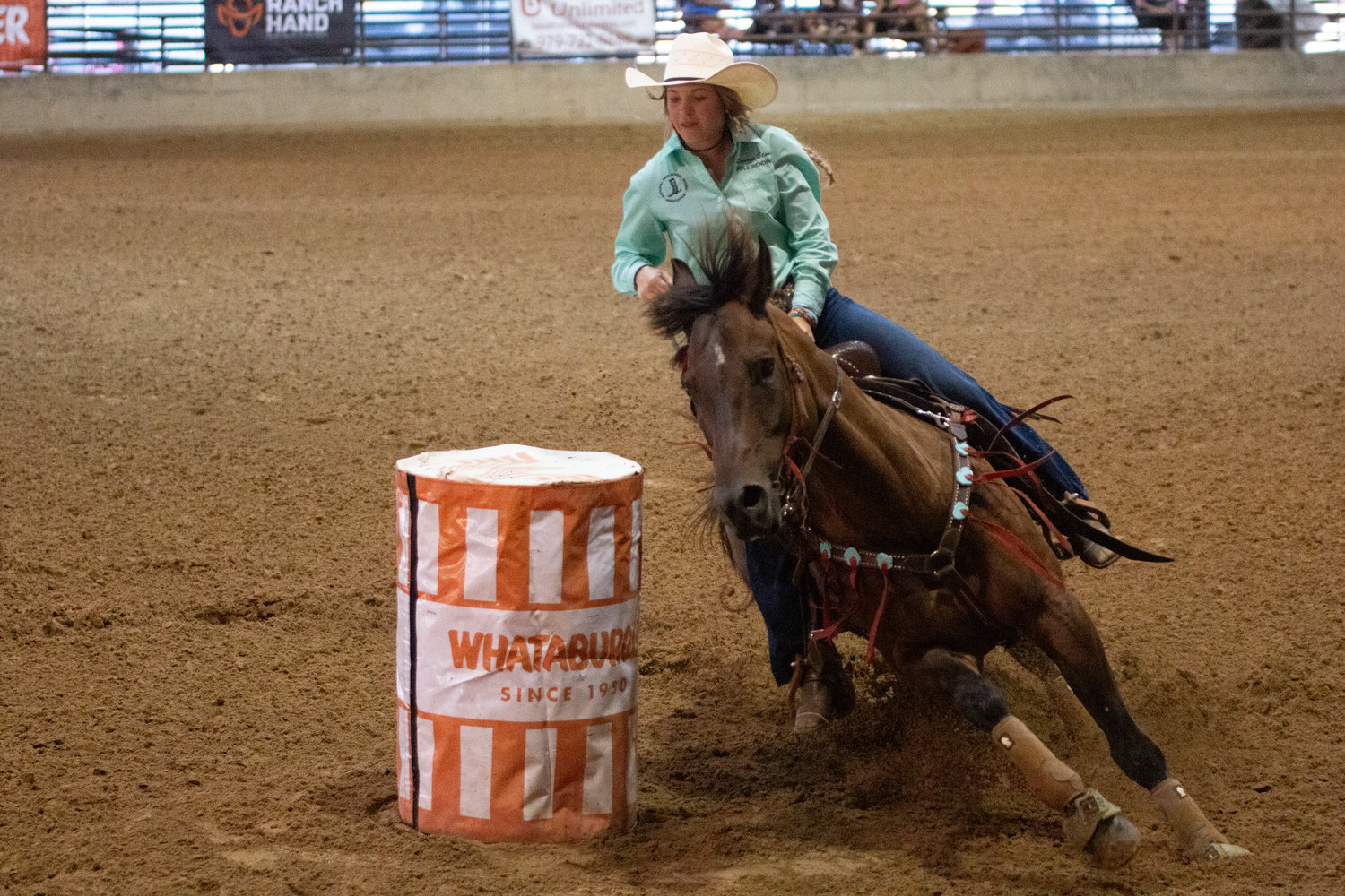 The Texas Youth Rodeo Association finals are at J.B. Wells Arena this week with young cowboys and cowgirls competing to finish out the summer on top. Pictured is Harwood's Lauren Stone who is scheduled to perform in three different events.