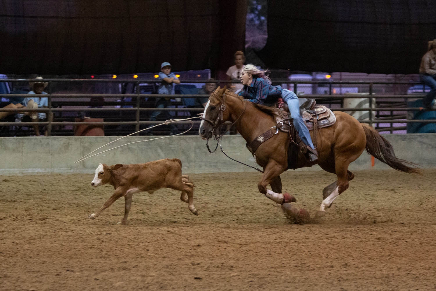 Luling's Emma Knox competed in junior ribbon roping, junior team roping and junior girls breakaway on Tuesday at the Texas Youth Rodeo Association finals at J.B. Wells Arena. Knox is one of seven athletes competing this week in the youth rodeo finals.