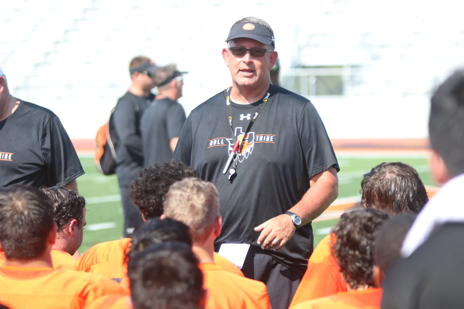 The Gonzales Apaches braved the heat last Thursday morning as they took on the Smithville Tigers in their first live scrimmage of the football season.