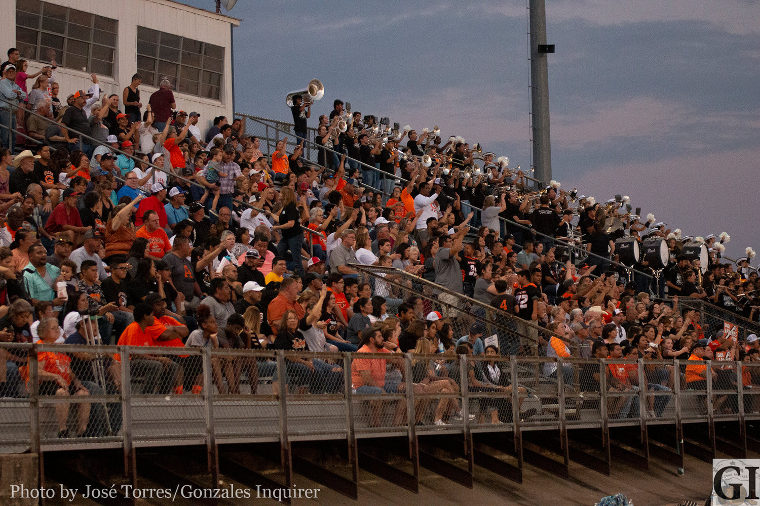 Gonzales Apache fans filled up the away stands in Gonzales' 27-25 victory over Yoakum at Bulldog Stadium.