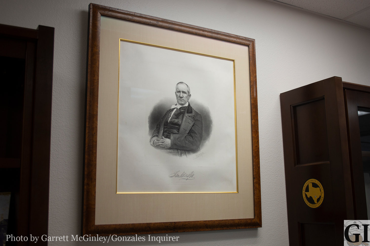 This lithograph of Sam Houston donated by Rex Bushong is one of three known to exist.