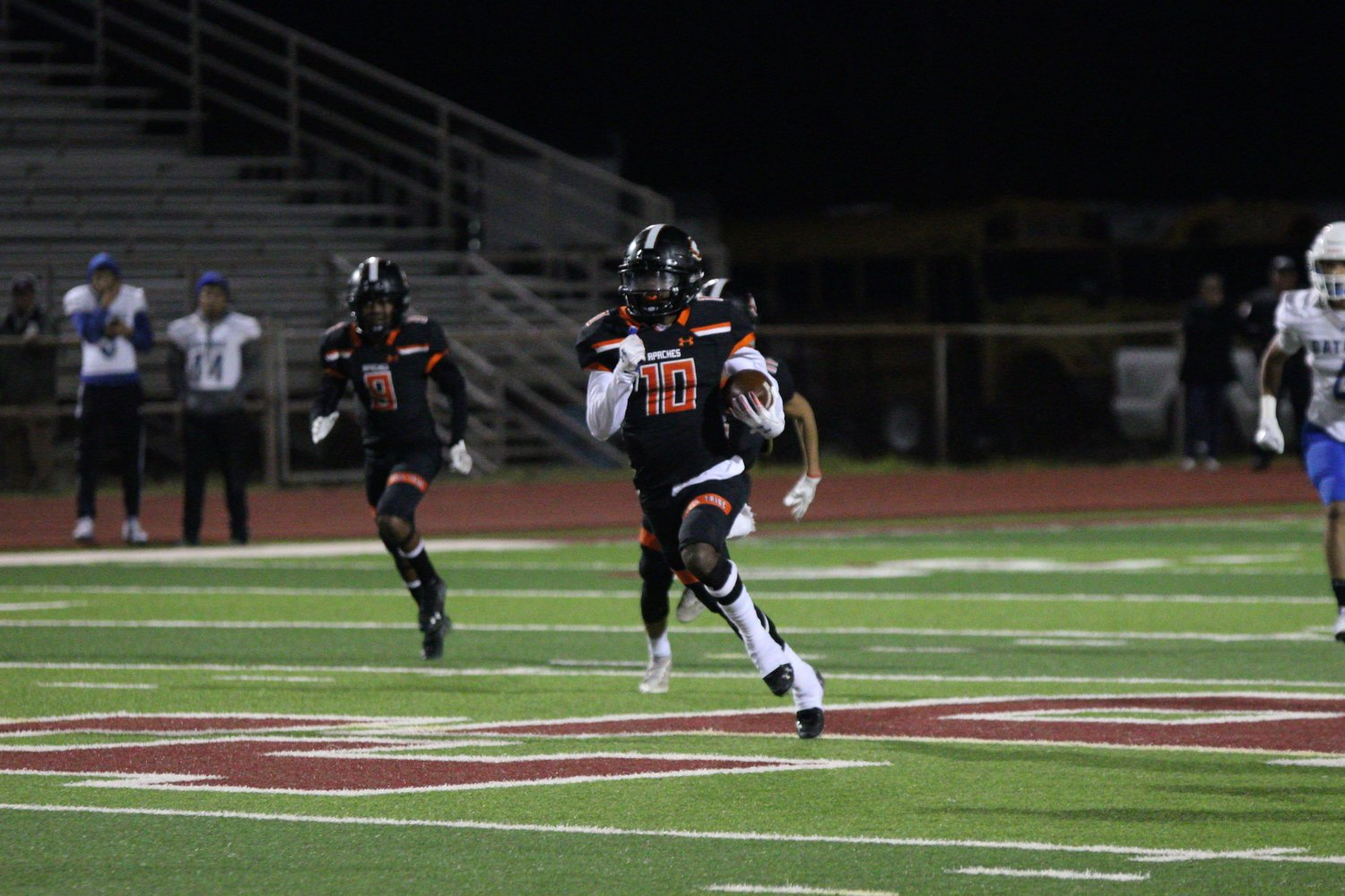 Arbreyon Dora returns an interception in Gonzales' 48-27 victory over Grulla. Dora was everywhere Friday night, scoring on offense, defense and on a two-point conversion.