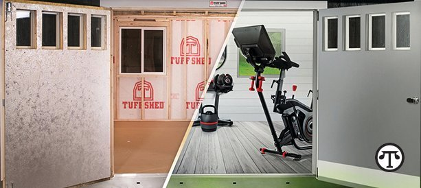 A Tuff Shed building offers the convenience of a custom home gym just steps from your back door.