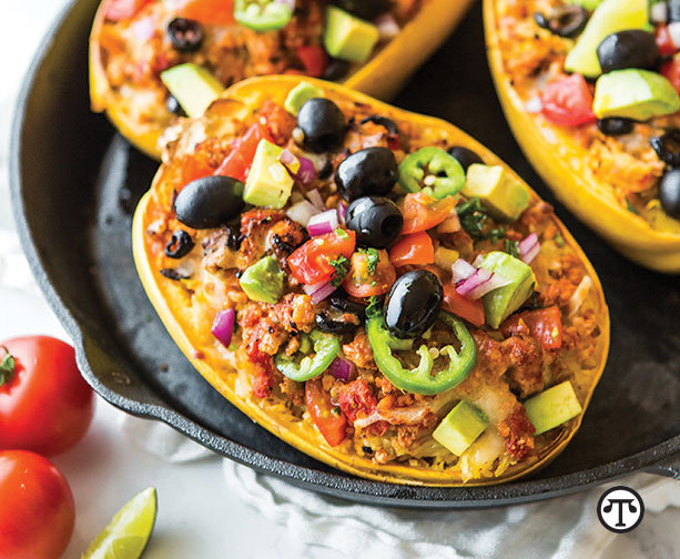 Squash stuffed with chicken, olives and veggies make    for a hearty, delicious dinner that's also Keto-friendly.