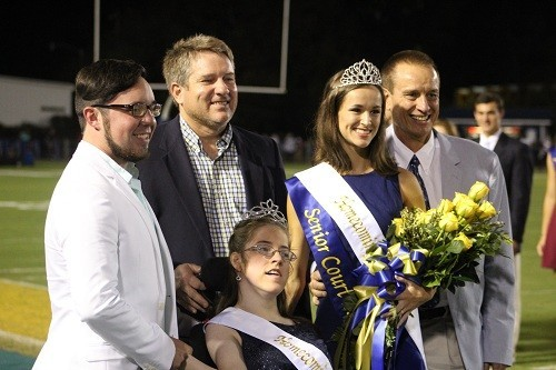 Fairhope Homecoming Queen 2016 Grace Bishop with 2015 Homecoming Queen Shelby Vandegrift, their escorts and FHS Principal Jon Cardwell.