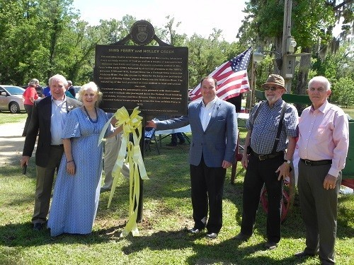 """From left, Baldwin County Commissioner Frank Burt, Claudia Slaughter Campbell, chairman of the Baldwin County Historic Development Commission's Historic Marker Committee; Baldwin County Commission Chairman Chris Elliott; Committee Member Creighton C. """"Peco"""" Forsman and BCHDC President Bob Glennon."""