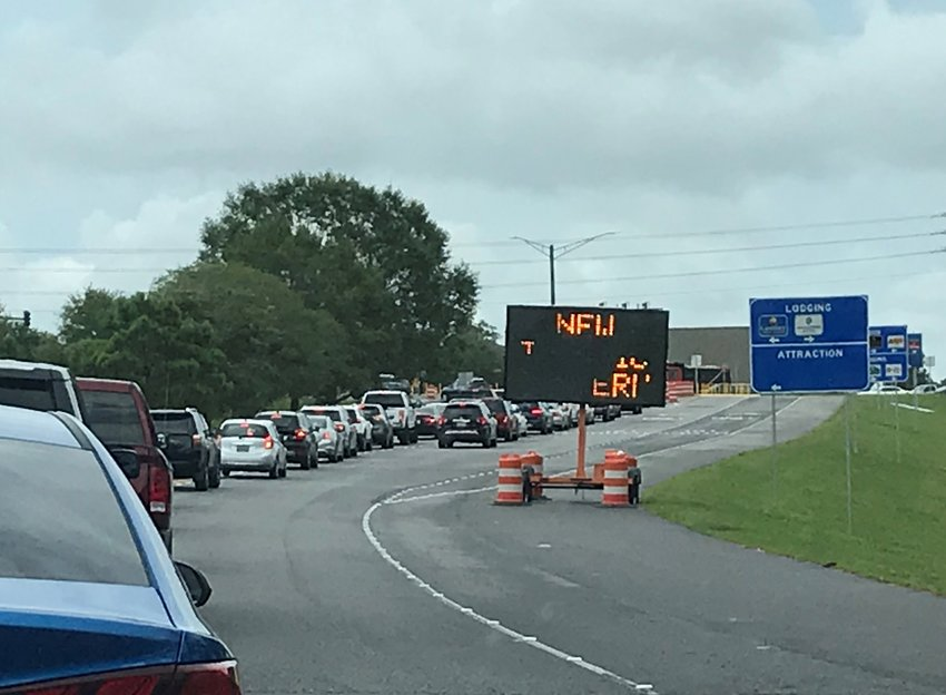 Traffic coming off Interstate 10 backs up at the Alabama 181 exit.