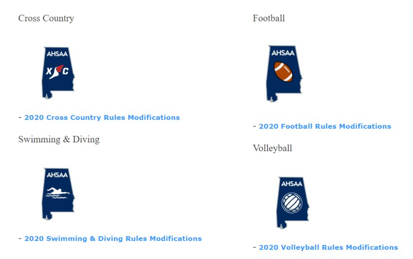 See link to 2020 rules modifications by sport