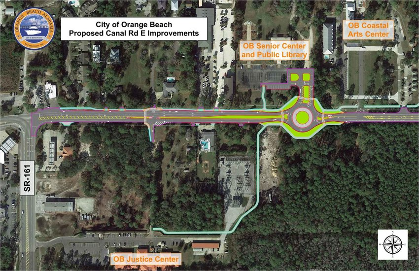 Orange Beach Mayor Tony Kennon outlined several upcoming roadway improvements during the July 21 city council meeting. Plans include making East Canal Road three lanes with a roundabout in front of the library.