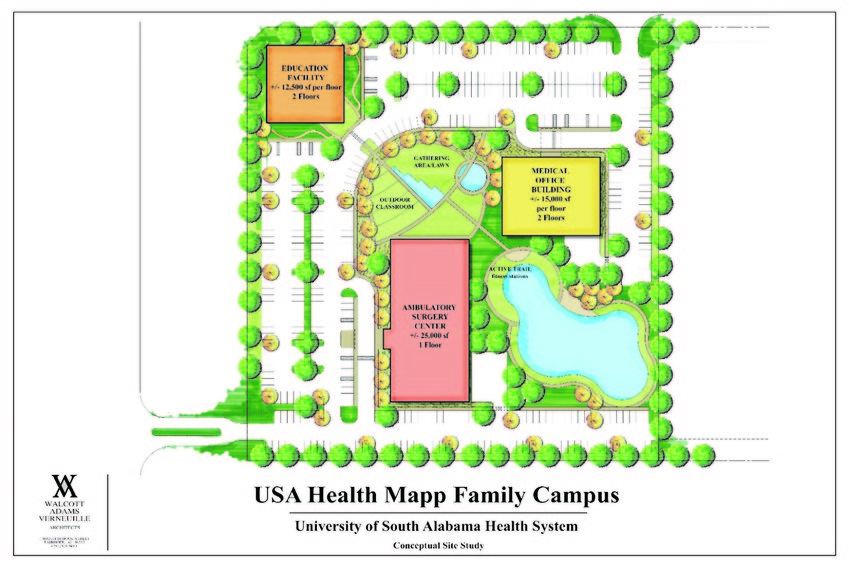 Plans for the new USA Health medical facility in Fairhope were announced Tuesday. The center will be at the southeast corner of Alabama 104 and Alabama 181 in Fairhope.