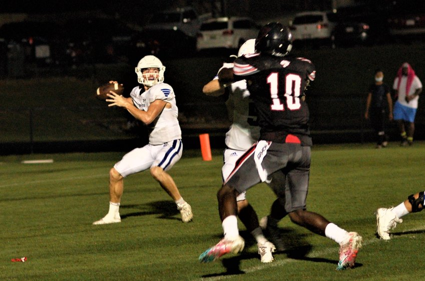 Admirals quarterback Zach Kittrell gets good protection.
