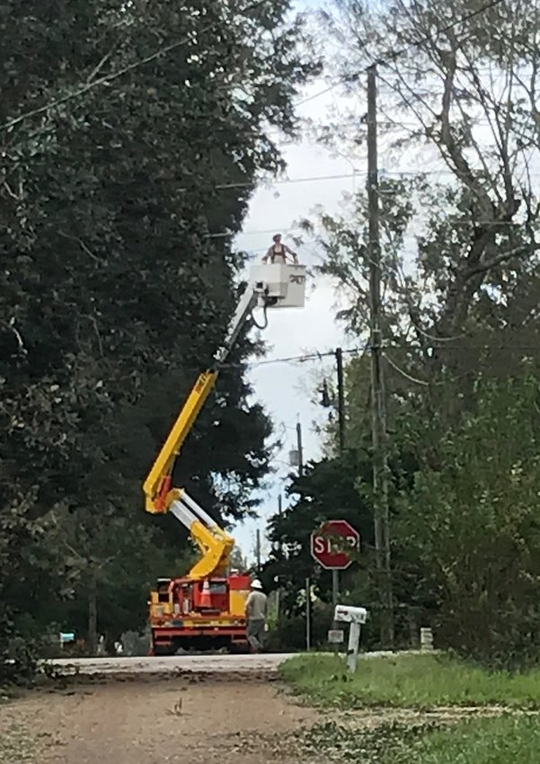 Riviera Utility crews work to restore power in Silverhill. More than 80,000 Baldwin County power customers lost electricity after Hurricane Sally.