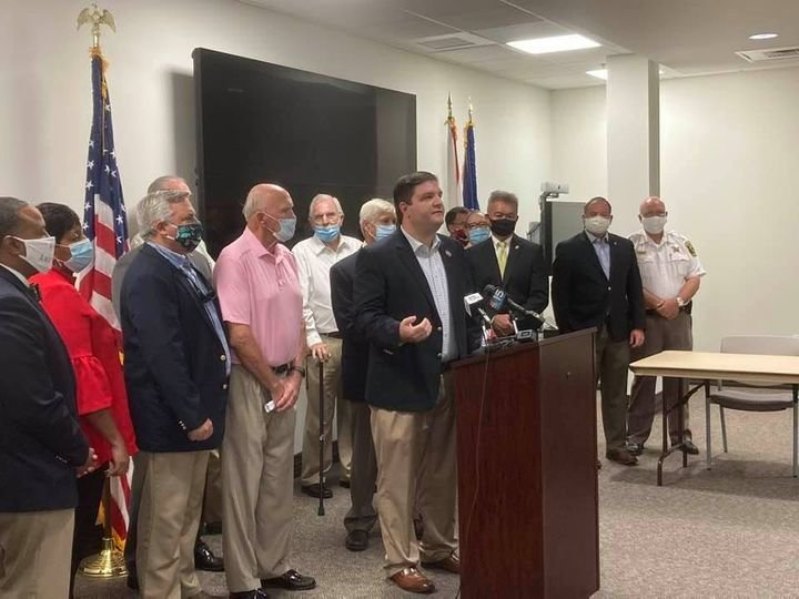 Rep. Matt Simpson (R – Daphne) held the press conference Monday in Fairhope to remind homeowners to proceed with patience and caution as they rebuild from Hurricane Daphne and to announce his intention to re-introduce his bill (HB 194 2020) to strengthen penalties for home repair fraud.