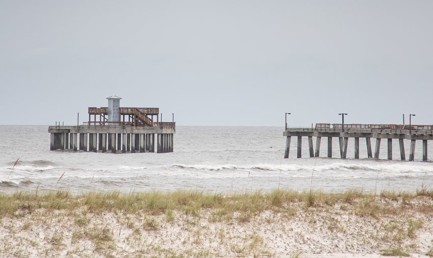 A section of the newly renovated Gulf State Park Pier is gone after a battering by Hurricane Sally.