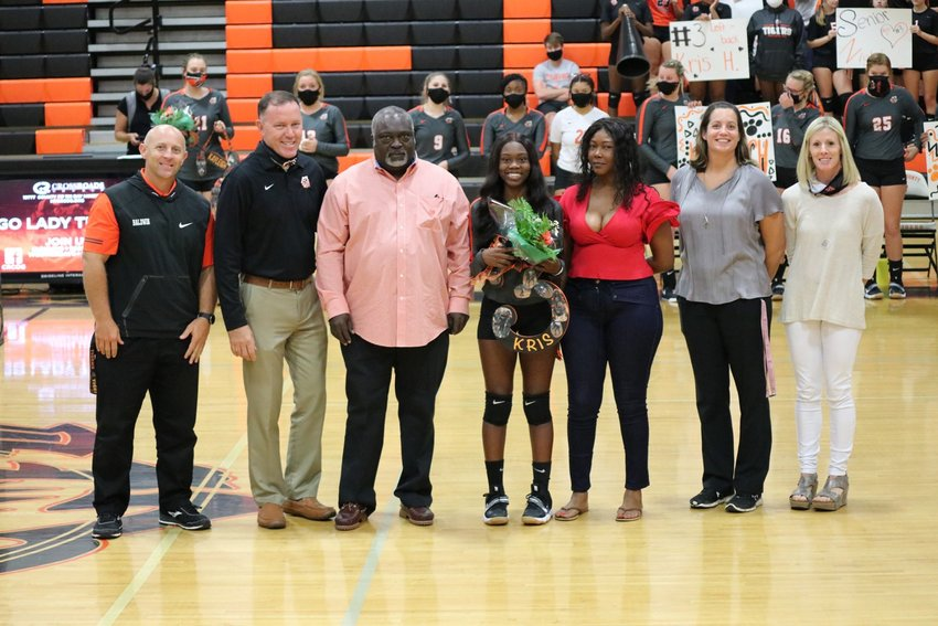 BCHS Assistant Principal James McGowin, Principal Craig Smith, Christopher Hollie, Kristian Hollie, Latrecia Andrews, Lady Tigers Coaches Betty Heaton and Tabitha Shell.