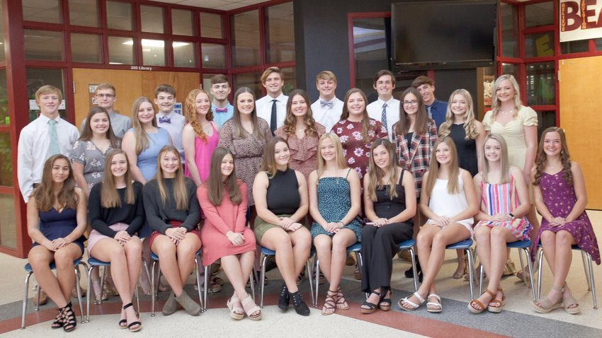 Members of this year's RHS Homecoming court are, front row, from left, Brooke Sterling, Chloe Hopper, Kenzie Kostelecky, Chloe Ash, Maddison Pouncey, Reese Skipper, Abby Larkin, Ali McDaniel, Lena Spears; middle row, from left, Sabrina Collins, Chloe Giardina, Delia Strack, Brandalyn Sherrer, Jordan Booth, Baleigh Collins, Kadence Clemmons, Maddie Cooper, Caylyn Campbell; back row, from left, Grant Driver, Darby Stevenson, Nathanial Tindal, Jared Jones, Bailey Fisher, Jack Kyte, Seth Egermayer, Noah Adams and, not pictured, Trent Gardner.