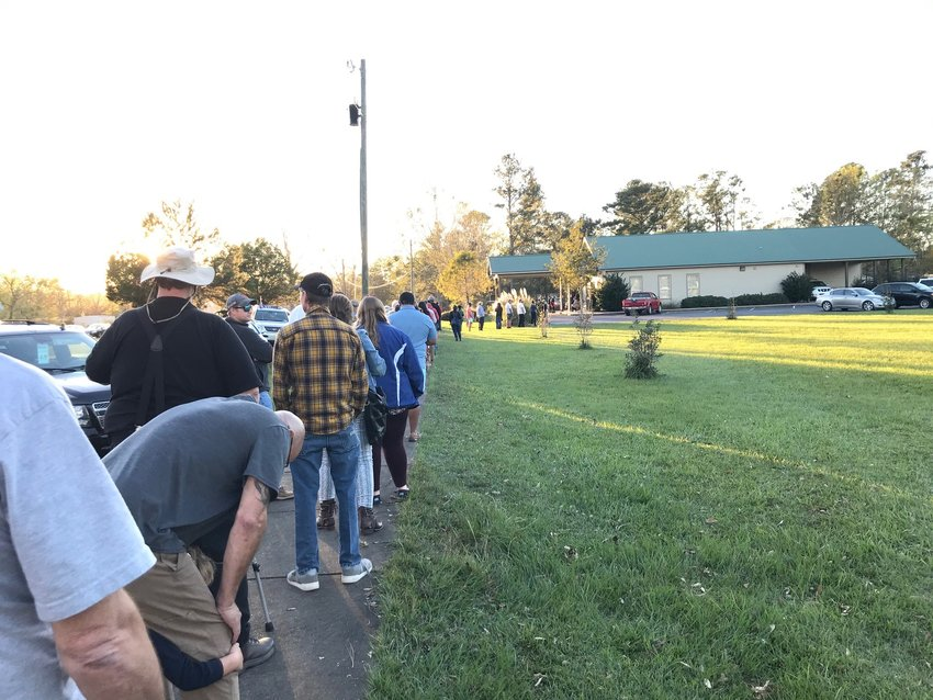 Silverhill voters line up to cast ballots in the 2020 general election Tuesday.