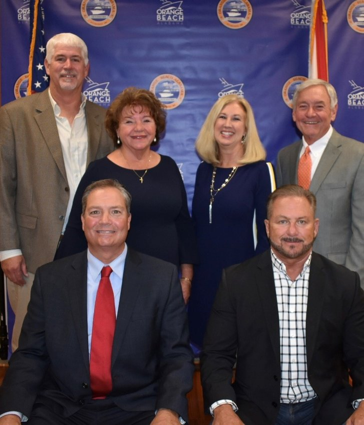 Back row from left: Jeff Silvers, Annette Mitchell, Joni Blalock, Jerry Johnson  Front row from left: Chairman Pro-tem Jeff Boyd and Mayor Tony Kennon