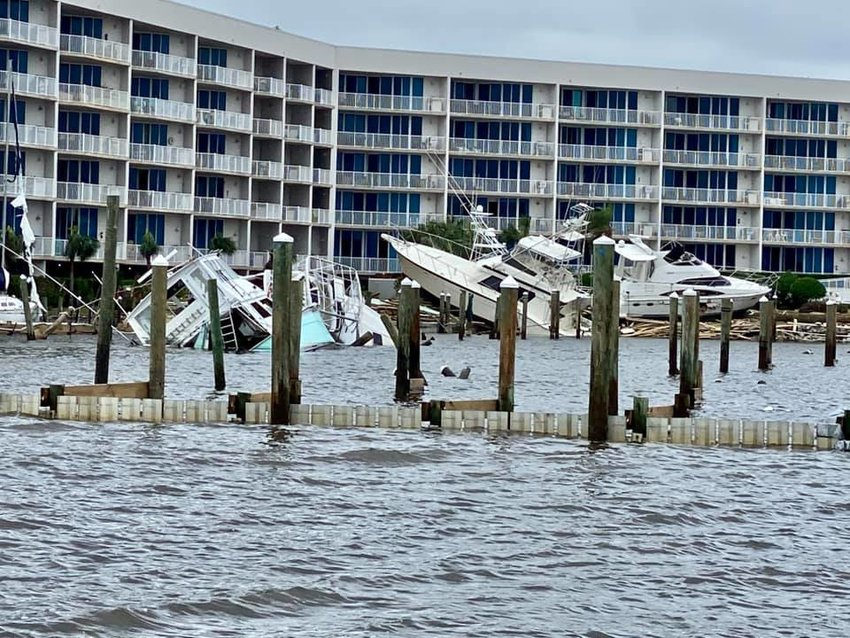 Sportsman Marina was heavily damaged by Hurricane Sally. Very few boats survived unscathed.