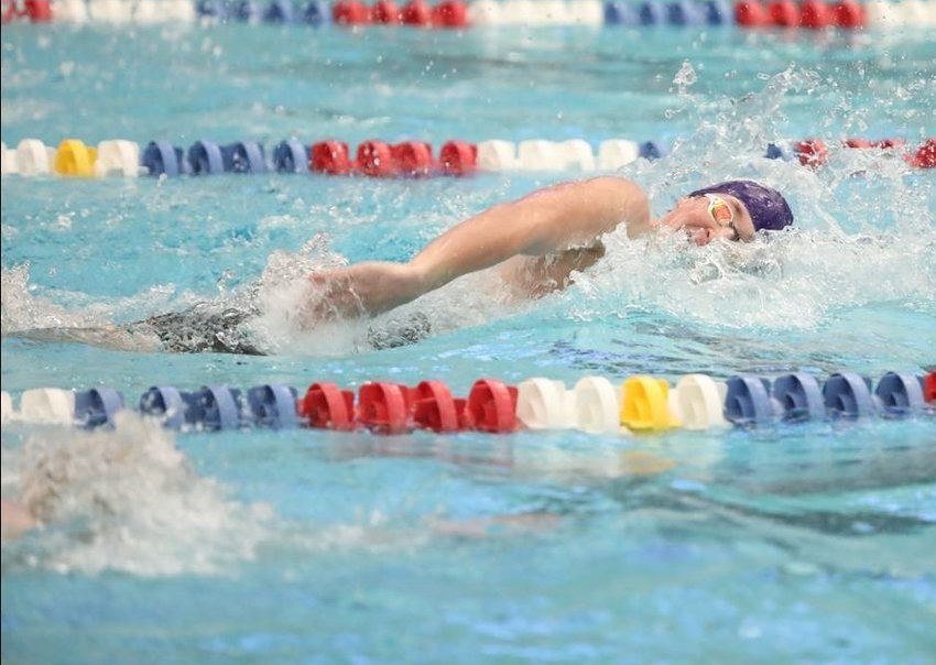 Andrew Jordan of Daphne swimming to a Class 6A/7A state-record time of 1:37.47 in the 200-yard Freestyle finals Saturday at Huntsville Aquatics Center.