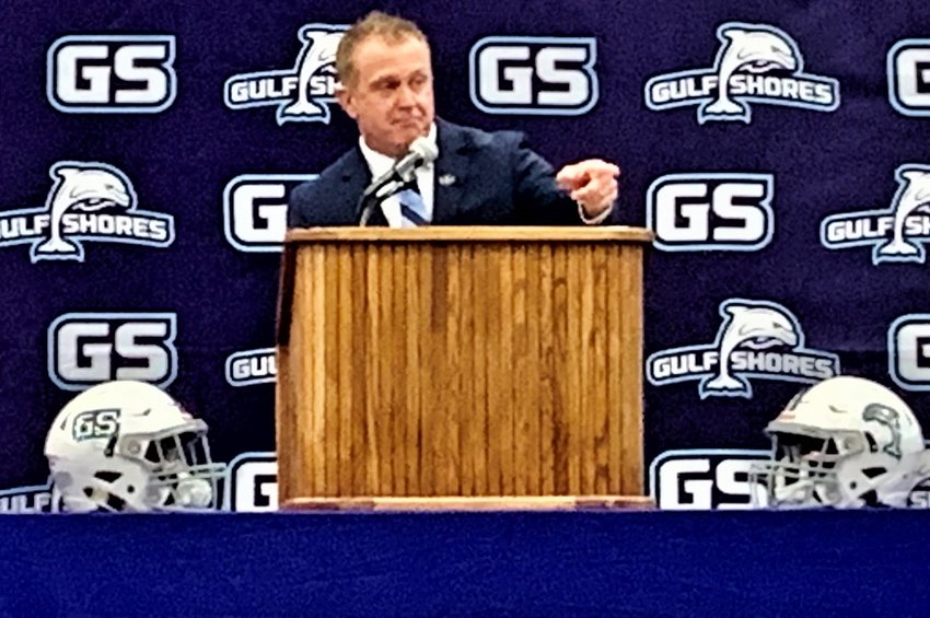 Mark Hudspeth takes questions at Gulf Shores High Jan. 8, 2021.