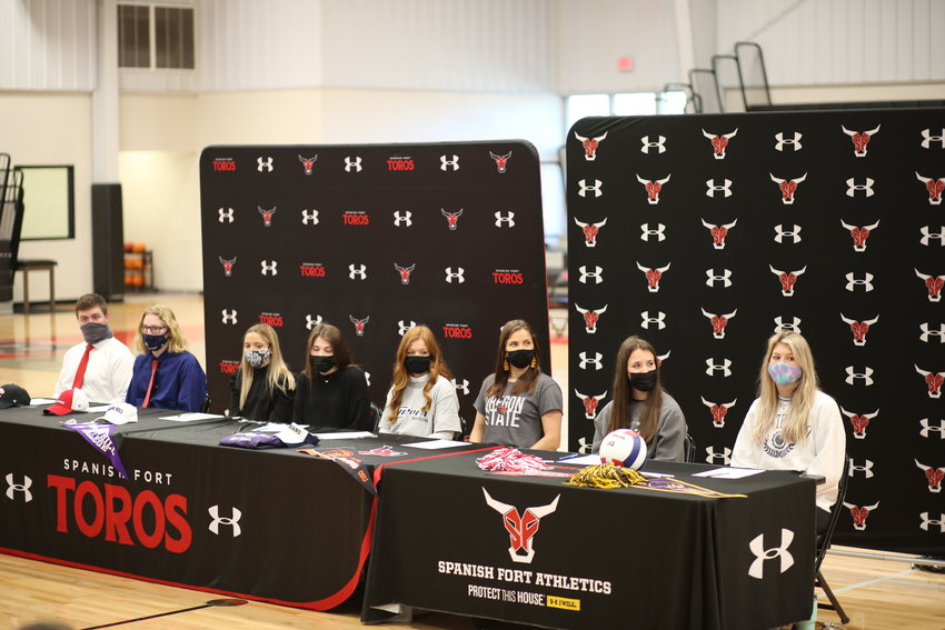 From left: Jack Myers - South Alabama football, Alex Jarrell - Samford football, Morgan Thomson - Springhill College soccer, Emma Pager - Coastal Alabama tennis, Hannah Atwood - Chipola softball, Ainsley Lambert- Oregon State softball, Tatum Beach- University of Mobile volleyball and Kamble Frenette - University of Montevallo volleyball.