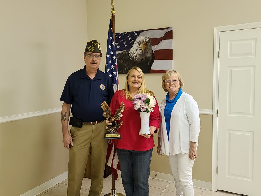 From left to right: AMVETS Post 2018 Commander Terry Shadowens, Elberta councilmember Vicky Helms Norris, and AMVETS Post 2018 Auxiliary President Cindy Whaley.
