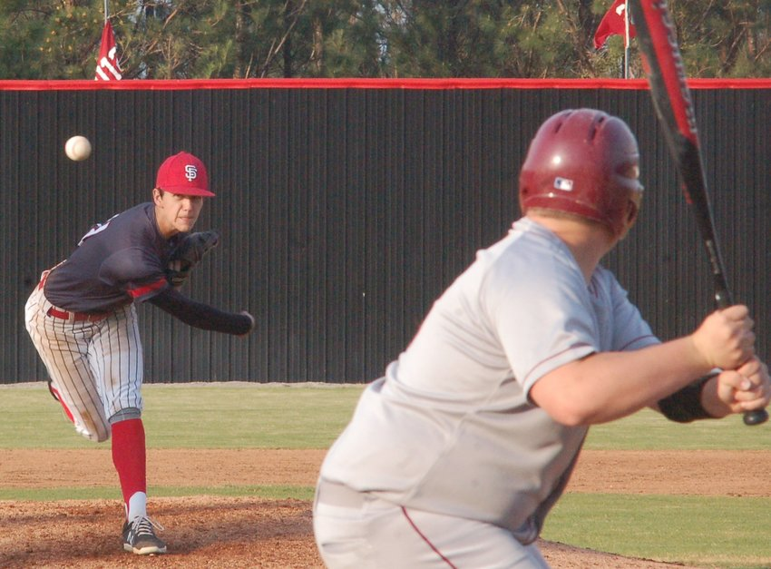 Jackson Ray (22) brings the heat for theToros at the Hill against Haleyville March 15.