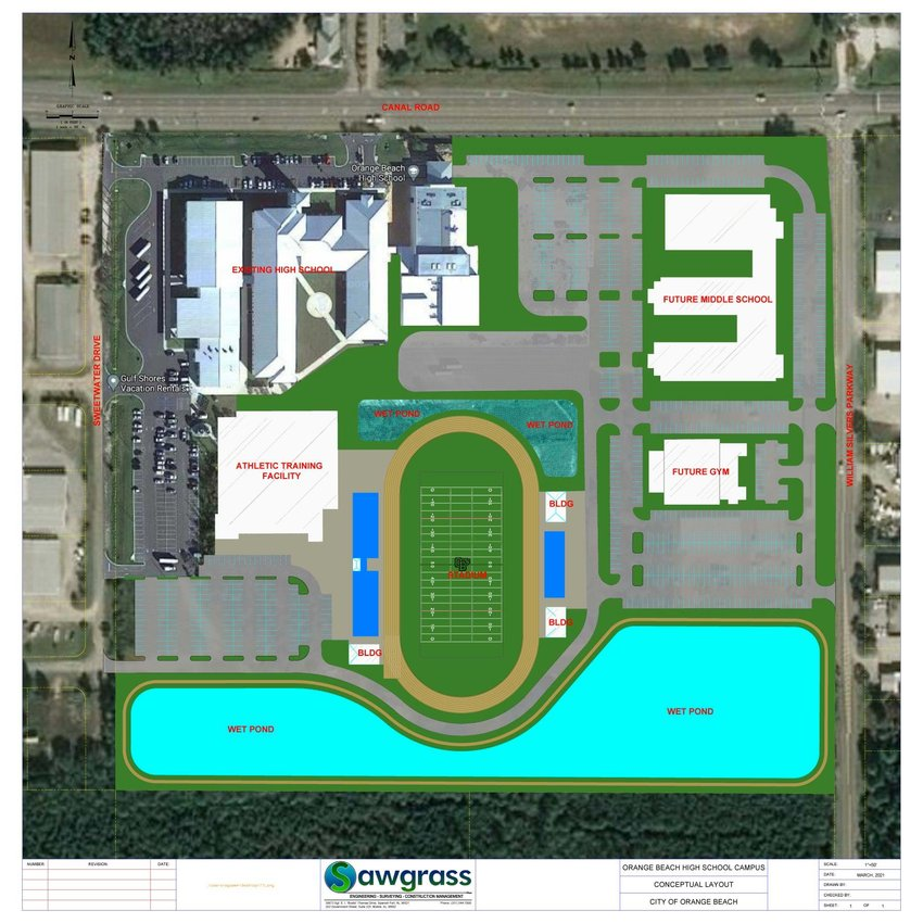 The Orange Beach High Athletic Facility plan calls for a 20,000 square feet heated and cooled building. According to Kennon, the facility will be the largest in the state. It will house facilities for girls, boys, nutrition and sports medicine and include a covered, 50-yard long and regulation width AstroTurf practice field.