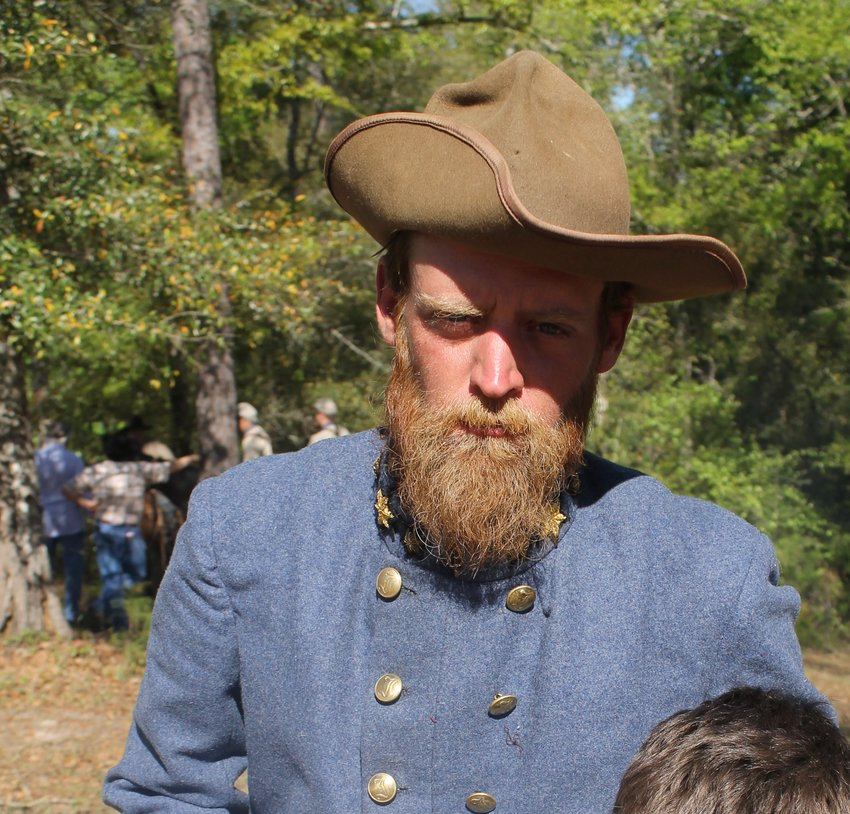 Brian DesRochers, interpretive ranger at Historic Blakeley State Park, portrays Confederate General Francis Cockrell of the 2nd Missouri Regiment during re-enactments. He was used as a model in a painting depicting the Battle of Fort Blakeley.