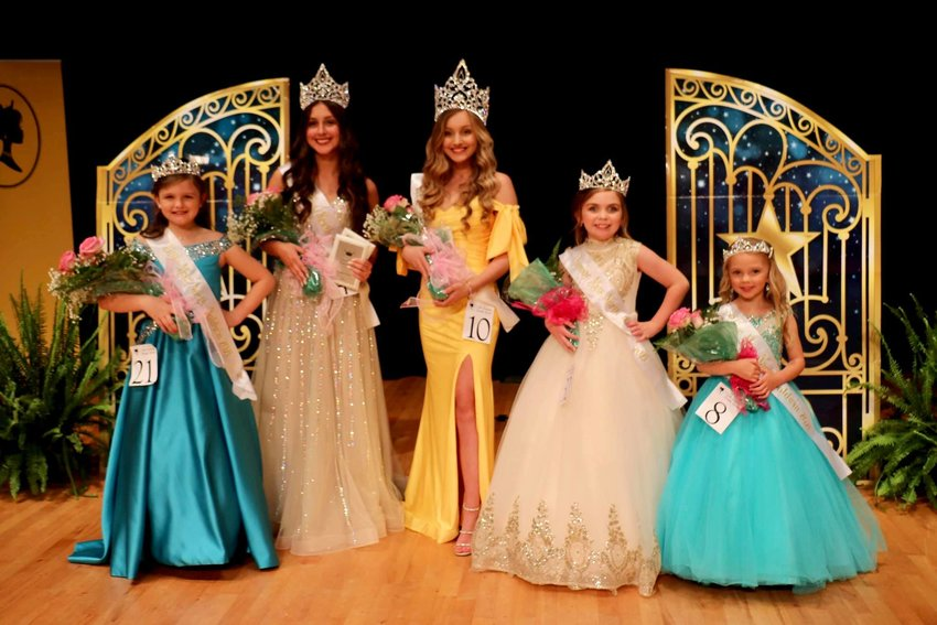 : The winners for the North Baldwin Beauty Review included, from left, Lauren Walker, Little Miss North Baldwin; Cale Jones, Teen Miss North Baldwin; Emily Scarborough, Miss North Baldwin; Mary Syndel Byrd, Junior Miss North Baldwin; and Eastyn Whidbee, Tiny Miss North Baldwin.