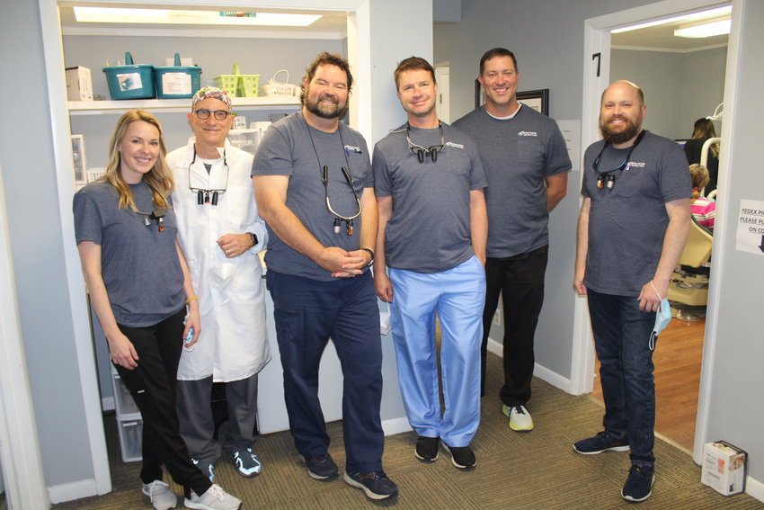 Participating in this year's Dentists with a Heart event are, from left, Dr. Lindsey Taylor, Dr. Frank Melazzo, Dr. Jason Northcutt, Dr. Richard Ribeiro, Dr. Brock Barras and Dr. Jeremy Hardy.