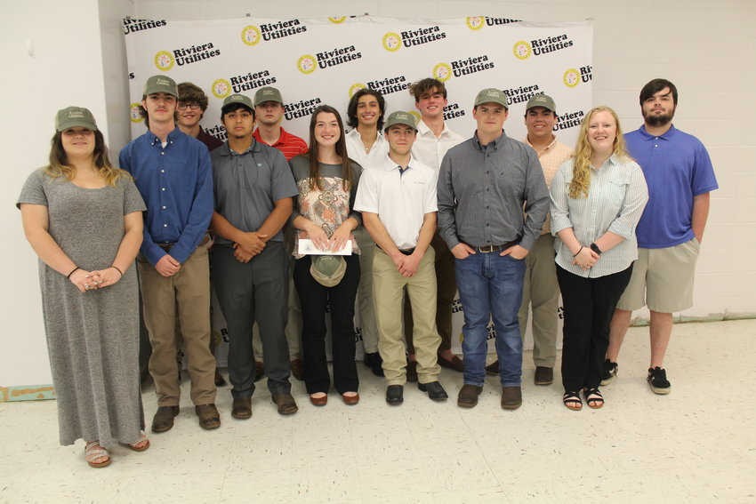 Rising senior students from throughout Baldwin County came together for a special signing day Tuesday, May 4 at the Loxley Civic Center for the 2021 Summer Utility Internship Program with Riviera Utilities. Pictured are, in no order, Daniel Haskew and Andrew Yazzie, BCHS; Logan Bagley, Rucker Beasley, Matthew Lambert and Cameron McCrary, Daphne High; Hailey Buchanan, Dakota Owens and Savannah Williamson, Elberta High; Cole Boyington, Cooper Niebuhr and Paige Jones, Foley High; and Anders Bjorkner, Spanish Fort High.