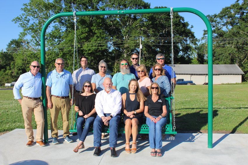 Pictured with Robertsdale Mayor Charles Murphy and 2020-21 Club President Tonja Lowery are members of the Central Baldwin Sunset Rotary Club.