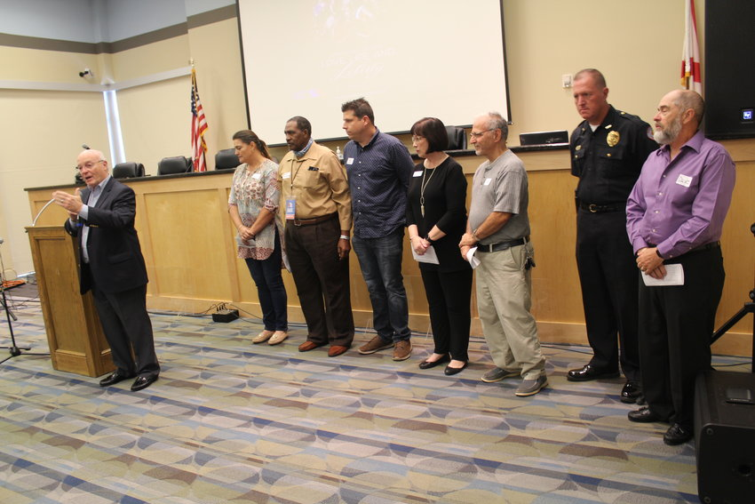 Prayers were presented by, from left, Larry Wiggins, closing prayer; Gisele Mores, family; the Rev. Bennie Richardson, the church; the Rev. Andrew Mullek, education; June Wilson, business; the Rev. Joe Pileggi, government; Summerdale Police Chief Kevin Brock, prayer for military and first responders; and David Combs, media.