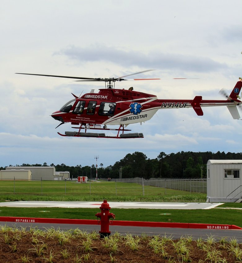 The Medstar Air Ambulance landed on the helipad at the new South Baldwin Regional Medical Center Freestanding Emergency Department during the open house May 12.