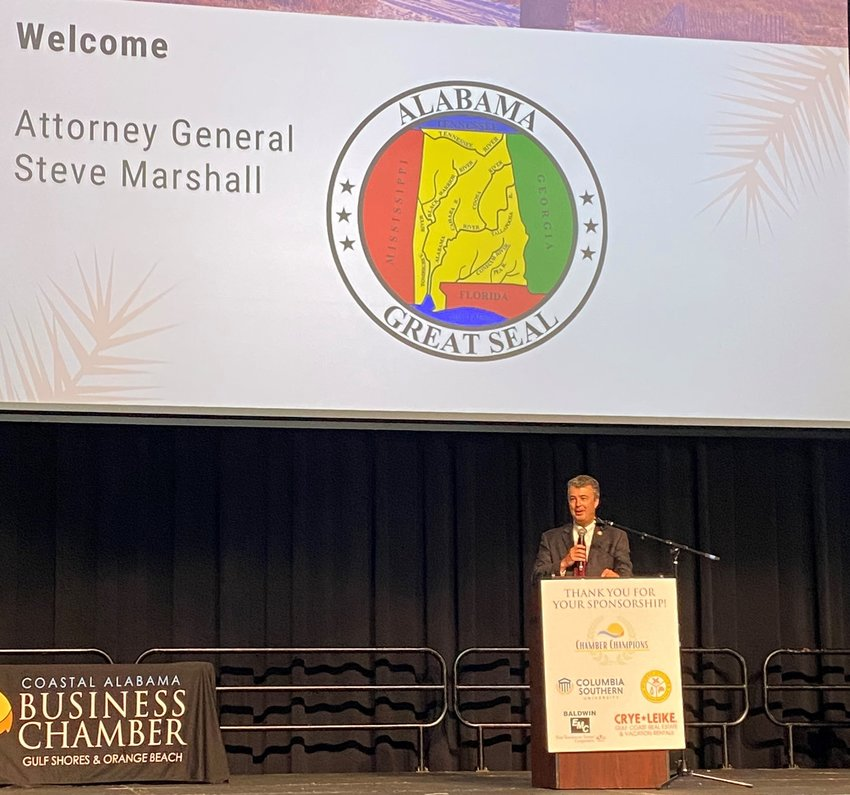 Alabama Attorney General Steve Marshall was the guest speaker at the Coastal Alabama Business Chamber's First Friday Forum June 4.