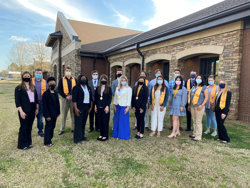 Student leaders and scholars fellowship after the Alabama Region Convention- Haven Collins, Megan Tensley, Nevaeh Hurst, Teagan Young, Kaylee Knight, Avie Etheridge, Diana Plascencia, Tracie Tran, Elena Velazquez, Megan Stuart, and Hope Jensen. Back row-Christian May, Jakob Markham, Chase Hornady, Joey Trahan, Matthew Smith, Wyatt Lassiter, DeAndre Higgins, and Nicholas Wilson. Not pictured are Michael Lambert and advisors Lee Conerly, Kelli Davis, Michael Merry, and Dr. Charles Lake