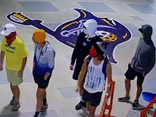 The five vandals were caught on surveillance cameras in several schools and are seen wearing Bayside Academy clothing.