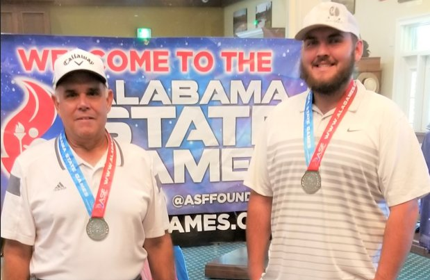 Jeff Ricks at left and Dalton Anderson with their Alabama State Games medals.