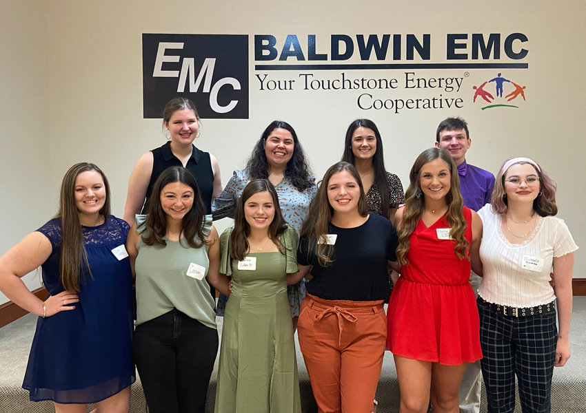 Board members from Baldwin EMC's Charitable Foundation recently hosted a luncheon honoring this year's Foundation scholarship winners. Pictured are the attending 2021 recipients (front row, l-r): Cali Hess, Carleen Horace, Sabrina Collins, Baleigh Collins, Malia Elliott and Michaela Brooke; (back row, l-r): Cassidy Schneider, Cairo Plauche', Nicollette Houston-Turner and Zander Westphal.