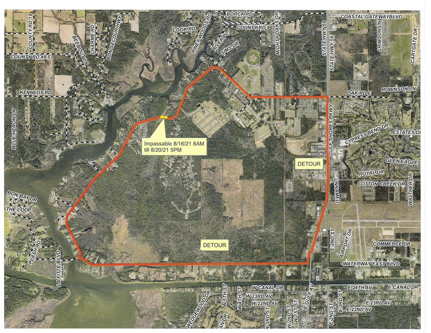 Between Aug. 16 at 8 a.m. through Aug. 20 at 5 p.m. if you live south of the closure, detour via Waterway West. If you live north of the closure, including Martyn Woods, detour via County Road 6 West.