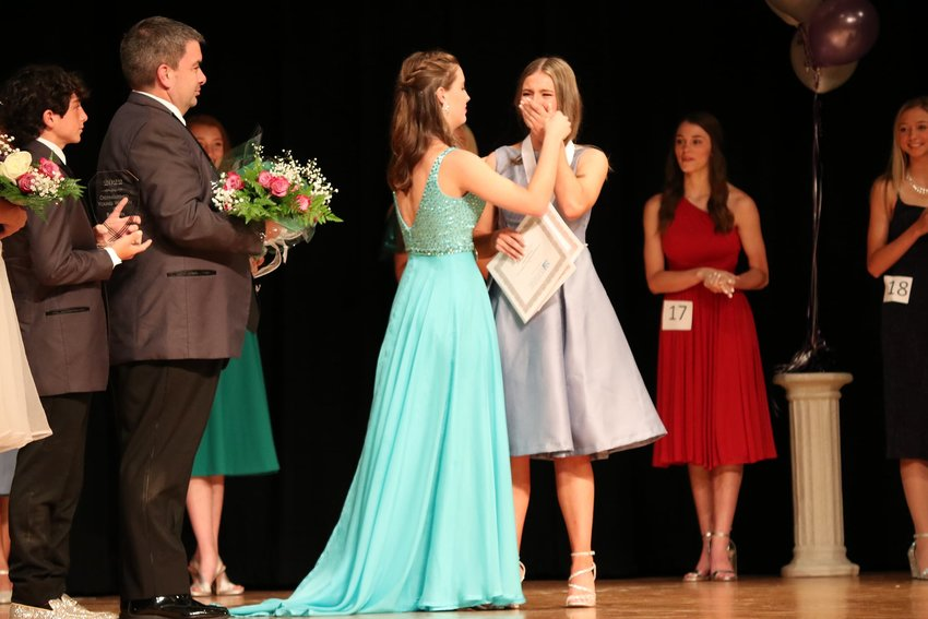 Madeline Shipman, center, was selected as Baldwin County Distinguished Young Woman for 2022. In addition to winning the title, Madeline also won preliminary awards for fitness, self-expression, and talent. Rounding out the top five included, from left, Katelyn Few, third runner-up; Grace Covo, first runner-up; Georgia Byrd, second runner-up; and Ashlyn Hudson, fourth runner-up.