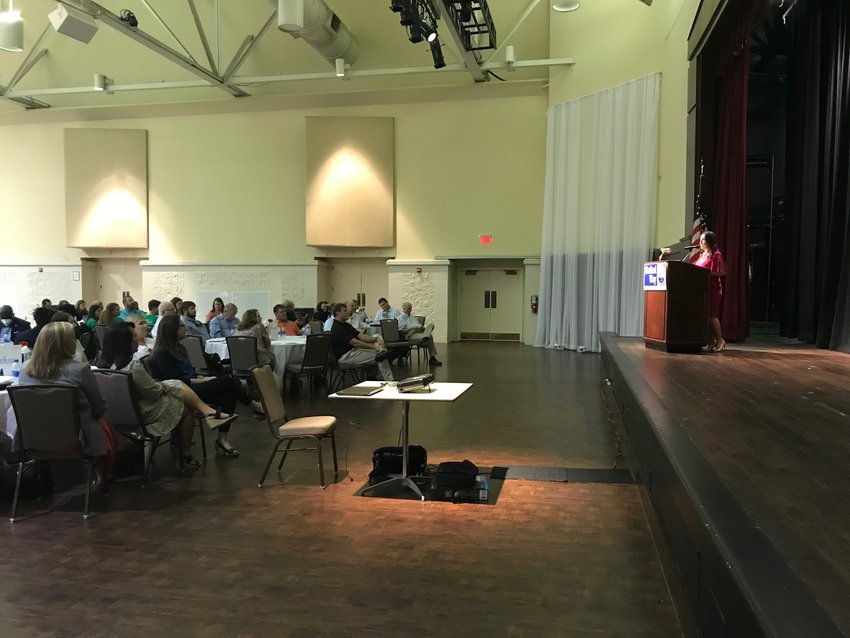 Marina Simpson, executive director of United Way of Baldwin County, addresses the audience at the Daphne Civic Center during the start of the 2021 fundraising campaign.