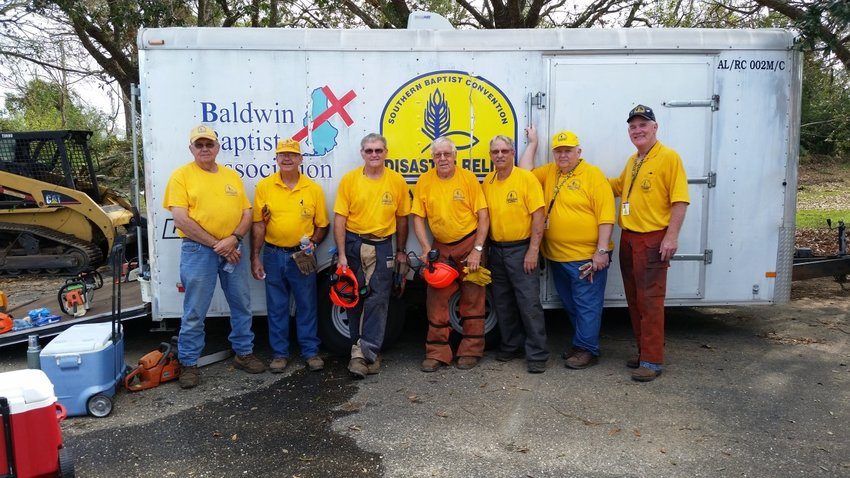 Steve Brooks, far right, Disaster Relief coordinator, and members of the Baldwin Baptist Association's Southern Baptist Convention Disaster Relief team.
