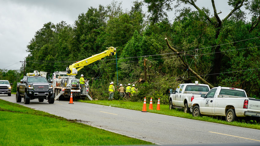 Crews from Baldwin EMC and Riviera Utilities were out in full force following Hurricane Sally last year.