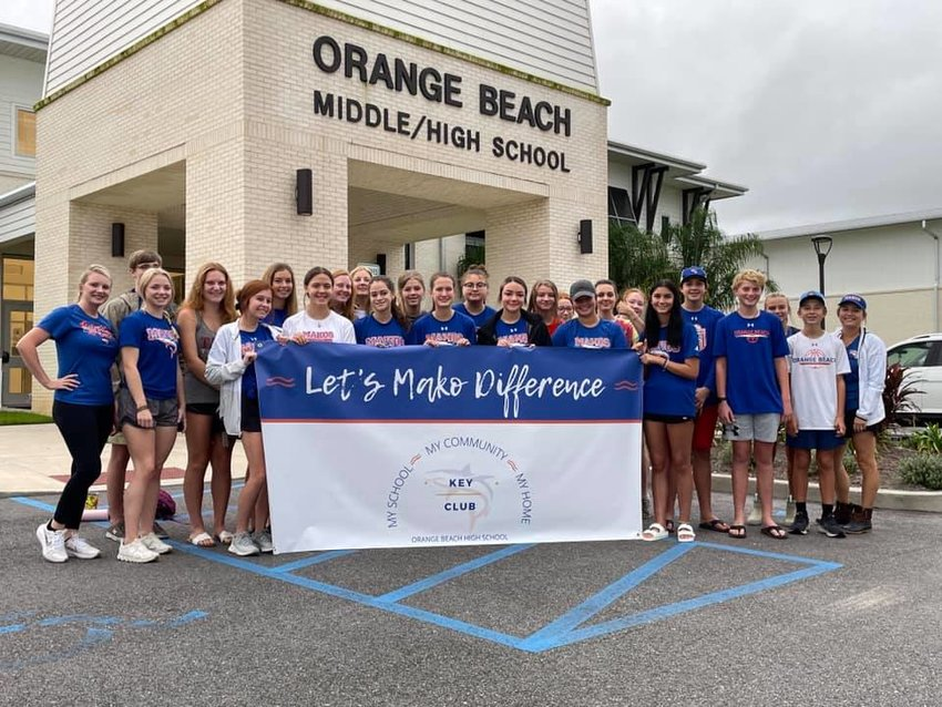 Members of the Orange Beach High School Key Club worked with Orange Beach Coastal Resources to clean up Boggy Point.