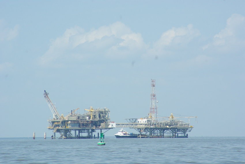Natural gas wells lie off Fort Morgan in Mobile Bay. Congressman Jerry Carl said new federal energy policies could affect future oil and gas production on the Gulf Coast.